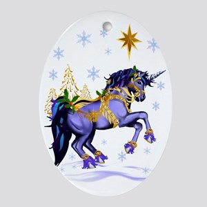 Bright Christmas Unicorn Oval Ornament
